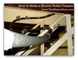 How to make a marble roller coaster with foam insulation pipe on TheMakerMom.com!