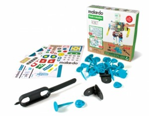 makedo robot kit contains a safe saw, lock-hinge, and re-clip clamps plus other items to create a fun robot.  STEM gifts for kids