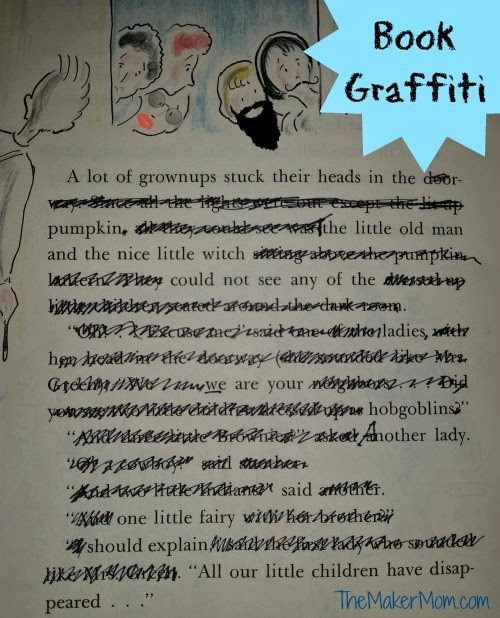 how to do book grafitti from The Maker Mom Blog