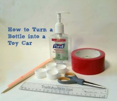 Learn how to make a DIY car from a plastic bottle on www.TheMakerMom.com.