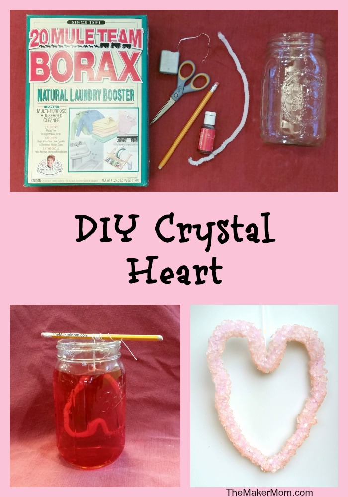Make your own crystal Valentine's Day decorations with Borax. Instructions for this and other fun DIY activities on www.TheMakerMom.com.