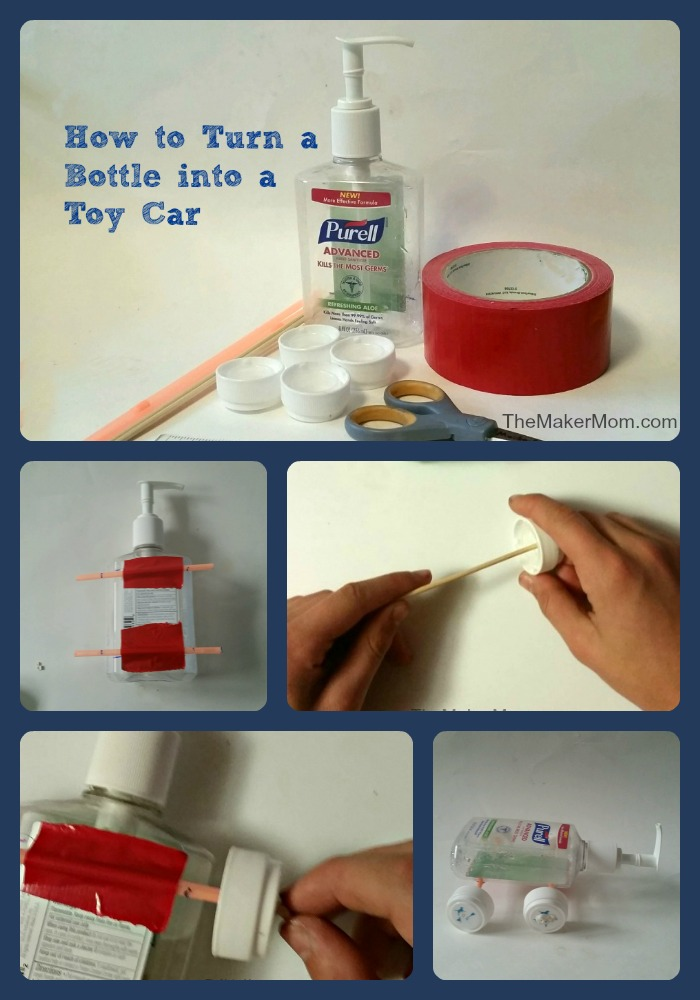 Learn how to make a DIY toy car from a plastic bottle on www.TheMakerMom.com.